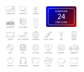 Line icons set. Computer pack. Vector illustration