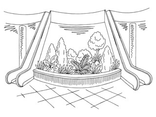 Mall lobby graphic black white interior sketch illustration vector