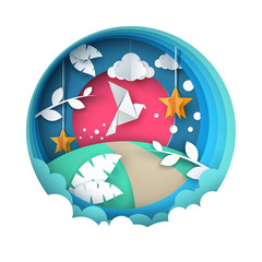 Dove illustration. Cartoon paper landscape. Vector eps 10