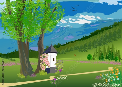 Bardzo dobra wiosenny krajobraz w górach
