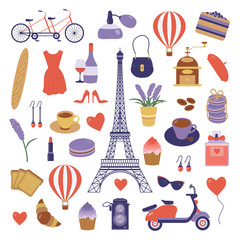 Paris icon set. Eiffel tower, tandem bicycle, air balloon, french bakery, scooter and coffee. France symbols collection in flat design. Parisian vacation design elements and objects in cartoon style.