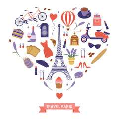 Love Paris card with Eiffel tower and romantic french travel elements stylized in heart shape. France symbols and icons collection in flat design. Parisian vacation print pattern in cartoon style.