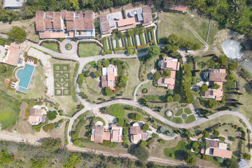 Aerial view of Beautiful La toscana resort valley mountain aerial view background.
