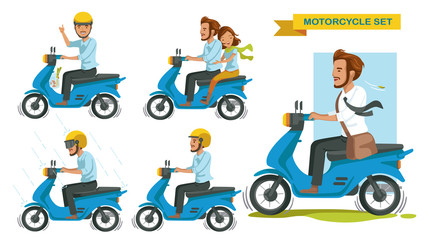 Riding motorcycle set. Man gestures are driving many motorcycles. Thumbs up. Couple riding a motorcycle. Driving in the rain. Drive safely, wear a helmet. Businessmen drive to work. vector isolated