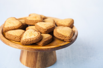 Cookies on a wooden dish