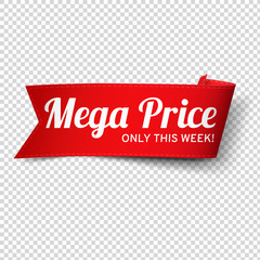Red, paper banner for mega price. Vector illustration