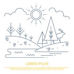 Summer forest landscape outline design - nature line background