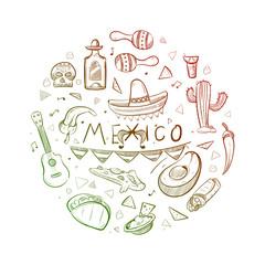 Hand drawn mexican symbols - sketch mexico logo