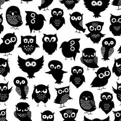 Cartoon owl seamless pattern. Black cute night birds texture
