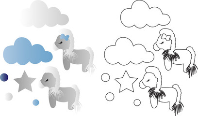 cartoon cute toy pony, clouds and stars