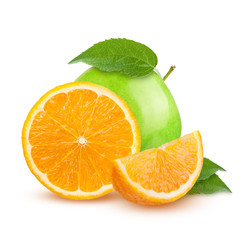 Isolated fruits. Cut green apples and orange fruits isolated on white background with clipping path