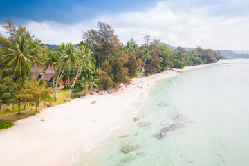 Beautiful white sand beach at Bang-Bao bay, Koh Kood or Koh Kut in Trat, Thailand.