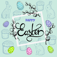 Easter card with rabbits and willow and inscription