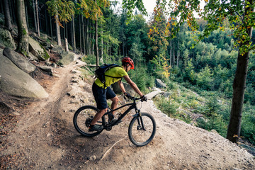 Photo sur Aluminium Cyclisme Mountain biker riding cycling in autumn forest
