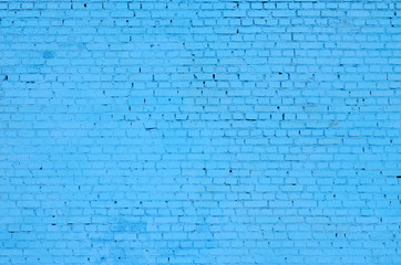 Square brick block wall background and texture. Painted in blue