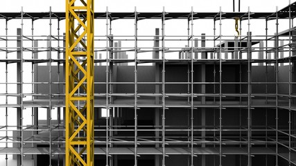 Construction crane on white background of highrise buildings. 3D rendering