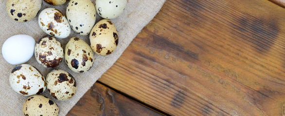 Quail eggs on sacking on a dark brown wooden surface, top view, empty place for text, recipe