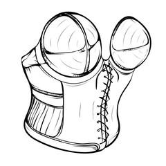 Fashion illustration of a female retro corset