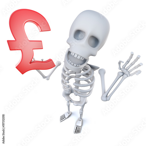 3d Funny Cartoon Skeleton Character Holding A Uk Pounds Sterling