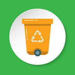 Recycle bin icon in flat style on round button