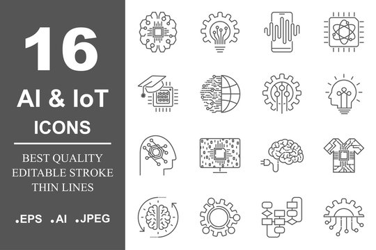 AI and IoT. Artificial intelligence icons set. Editable Stroke. EPS 10