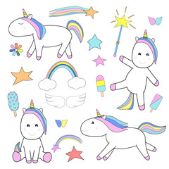 Cute unicorns and magic stuff set. Cartoon fairy tale elements collection