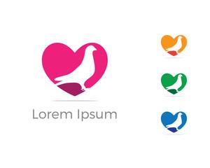 Bird logo vector design, birds lover icon, pigeon bird in heart vector illustration.