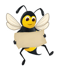 The funny bee keeps a clean sheet of paper in his hand, isolated on the white background. Raster illustration.