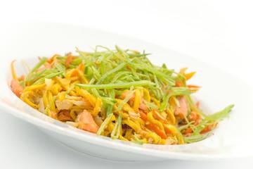 homemade pasta with salmon