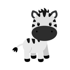 Vector cartoon character of little funny zebra. Children vector illustration