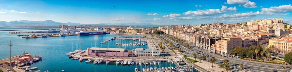 Panoramic view of Cagliari skyline