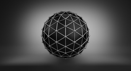 Black sphere and polygonal wireframe 3D illustration