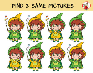 Cute little witch girl with a magic wand. Find two same pictures. Educational matching game for children. Cartoon vector illustration