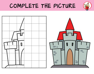 Medieval castle. Copy the picture. Coloring book. Educational game for children. Cartoon vector illustration