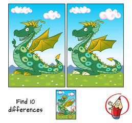 Funny green dragon. Find 10 differences. Educational matching game for children. Cartoon vector illustration