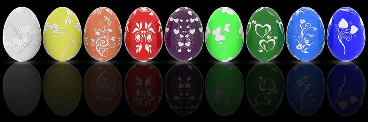 Serie uovo di Pasqua decorato. Uova decorate in vari colori su sfondo nero..