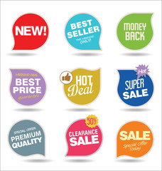 Modern sale stickers and tags colorful collection