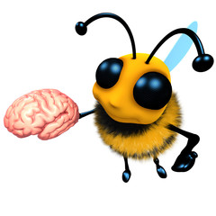 3d Funny cartoon honey bee character holding a human brain