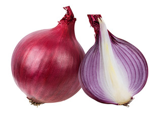 Fresh onion isolated on white background  with clipping path