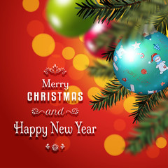 Christmas and New Year vector card. Fir tree on blurred background with colored balls