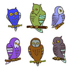 Set of cute cartoon owls