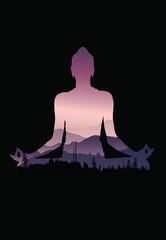 Buddha background vector, Buddha and nature, meditation background - illustration