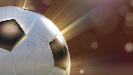 soccer ball slowly flying through the water drops emitting rays of light, 3d illustration