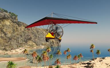 Ultraleichtflugzeug über einer Küstenlandschaft