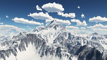 Bergpanorama mit Schönwetterwolken