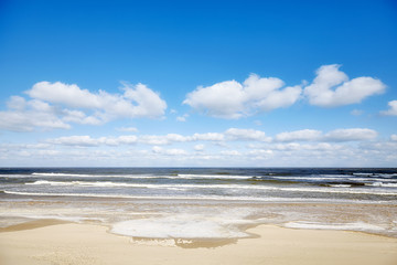 Picture of an empty beach in winter.