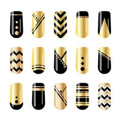 Nail art. Gold and black nail stickers design