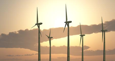 Windkraftanlagen vor der Abendsonne