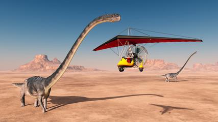 Weltenbummler im Ultraleichtflugzeug und Dinosaurier