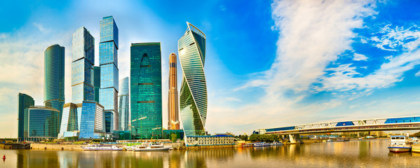 Foto op Canvas Stad gebouw Moscow City skyline. Panorama